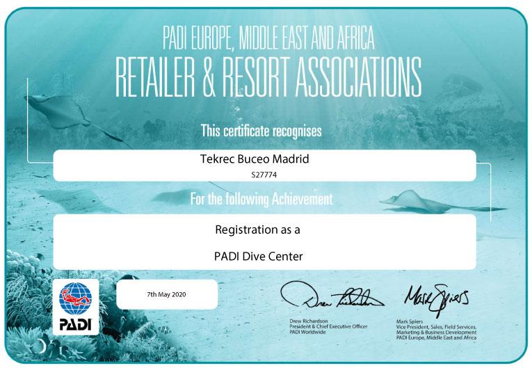 Certificado-Padi-Dive-Center tek rec buceo madrid